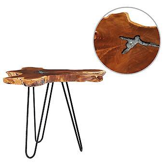 vidaXL طاولة القهوة 70 × 45 سم خشب الساج الصلب والبوليريسين