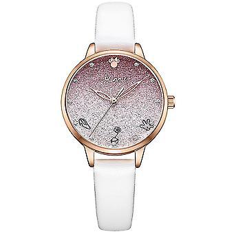 Dívka vodotěsná studentka střední školy gradient růžové dívčí hodinky (bílá)