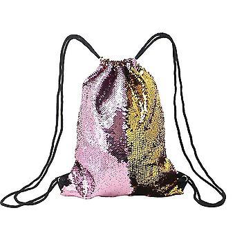 Mermaid Sequin Drawstring Bags Reversible Sequin Dance Bags Gym Backpacks For Girls Kids(Pink*Gold)