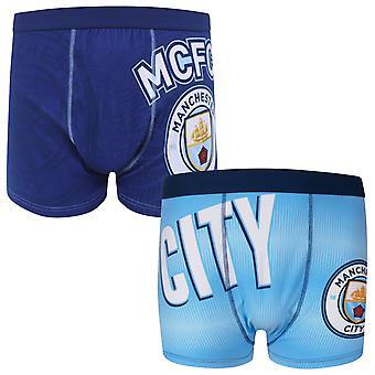Манчестер Сити Мужчины Боксер Шорты Крест 1 Пара OFFICIAL Футбольный подарок