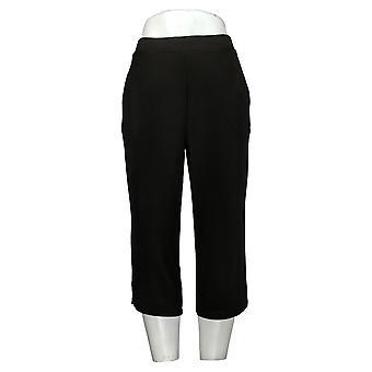 Susan Graver Pantalones de mujer recortados con hendiduras negro A303341