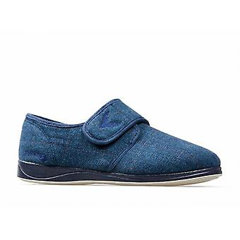 Padders Charles Mens Fabric Wide (g Fit) Full Slippers Navy Combi