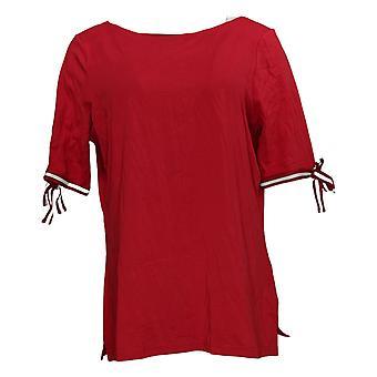 Belle af Kim Grus Kvinders Top Strik med Bow Sleeve Detail Rød A375885