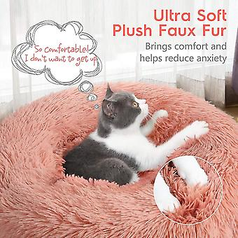 Pet Bed Soft Plush Donut Round Cushion Warming Washable For Small Dogs Kittens