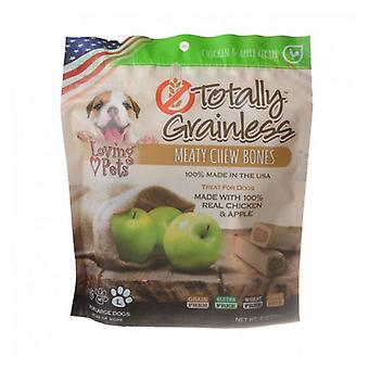 Loving Pets Totally Grainless Meaty Chew Bones - Chicken & Apple - Large Dogs - 6 oz - (Dogs 41+ lbs)
