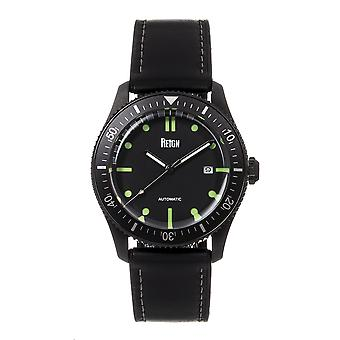 Reign Elijah Automatic Rubber Inlaid Leather-Band Watch W/Date - Black