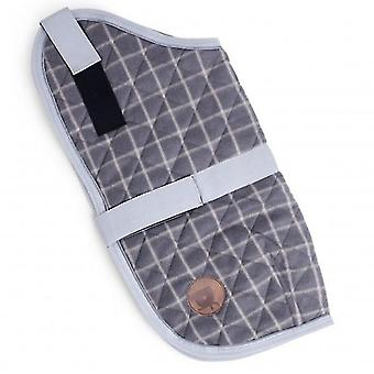 Dog apparel medium grey check quilted dog coat