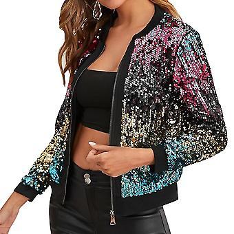 Women's Trend Sequin Stitching Cropped Top Jacket Button Nightclub