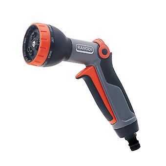 Premium sprinklerpistol med flera tillämpningar: Vattnings- och rengöringspistol, 9 sprayformer, filter, tung A