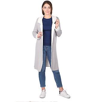 grå åpen front lang kvinners strikkevarer cardigan