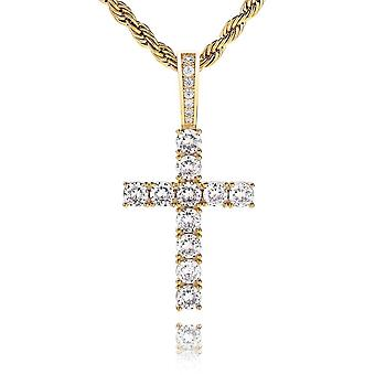 ALLICEONYOU Genuine Sterling Silver Hip Hop Cross Necklace Iced Out Cubic  Colar|Necklaces