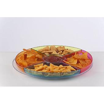Runde Chips und Dip-Tablett zum servieren Snacks Chips