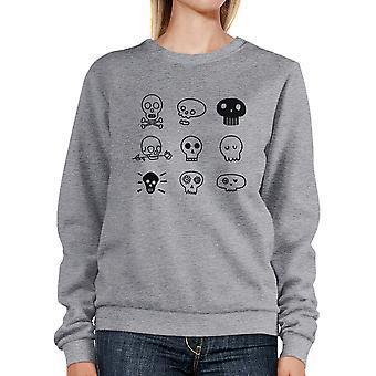 Skallar Sweatshirt grå roliga Halloween Pullover Crewneck Unisex