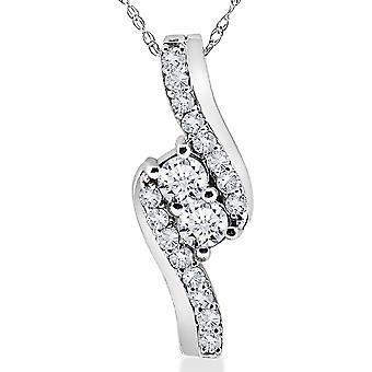 3 / 4CT por siempre nosotros dos piedra diamante colgante 10K de oro blanco