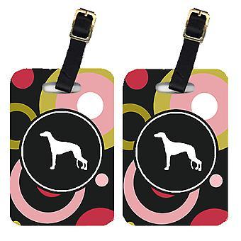 Carolines Schätze KJ1037BT paar 2 Greyhound Gepäck Stichwörter