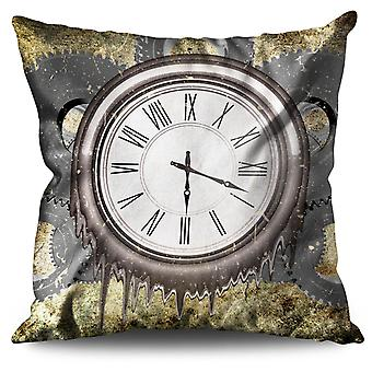 Clock Cool Print Linen Cushion 30cm x 30cm | Wellcoda
