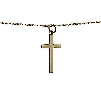 9ct Gold 25x15mm engine turned line border solid block Cross with a cable Chain 16 inches Only Suitable for Children