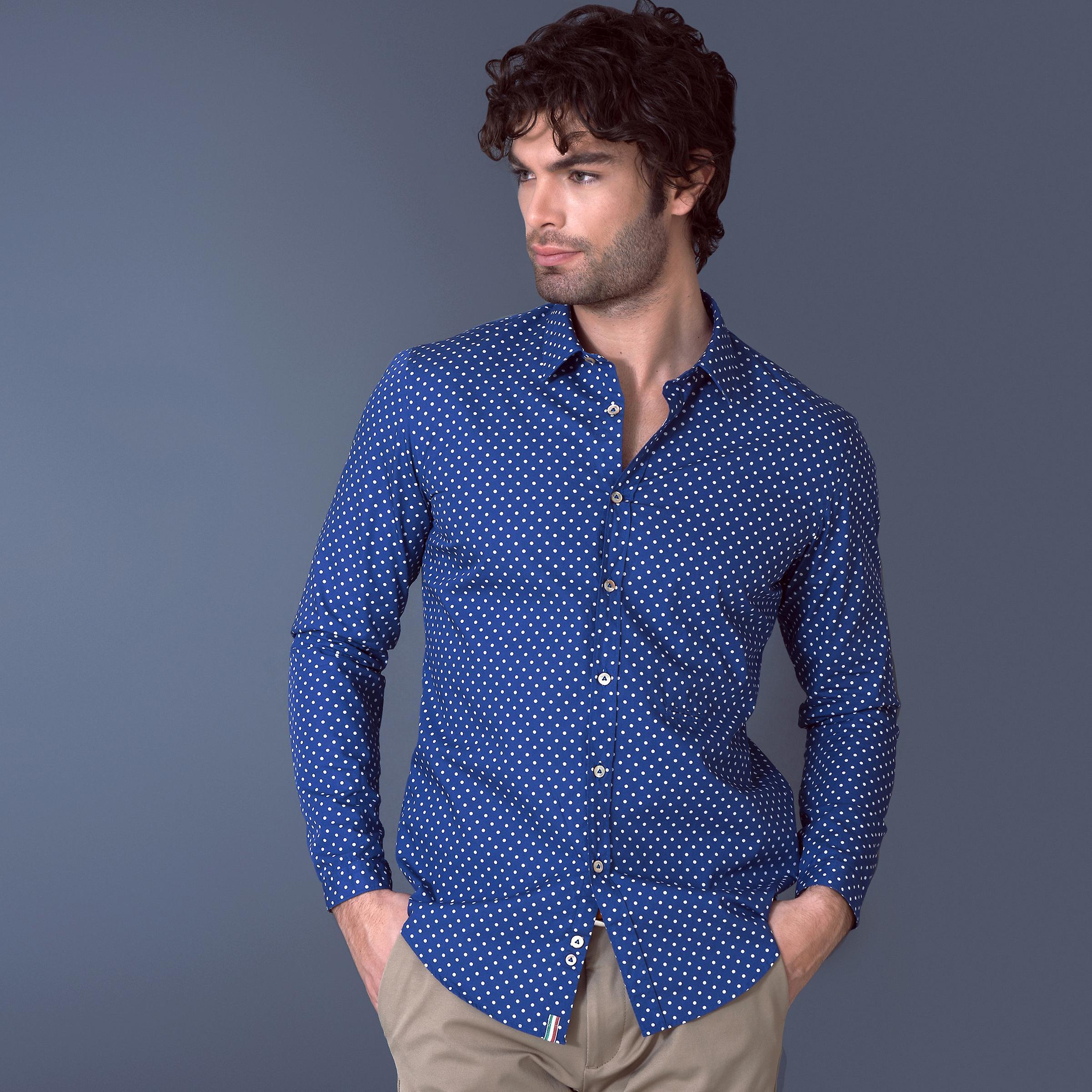 Fabio Giovanni Salento Shirt - Mens Classic Polka Dot Italian Casual Shirt