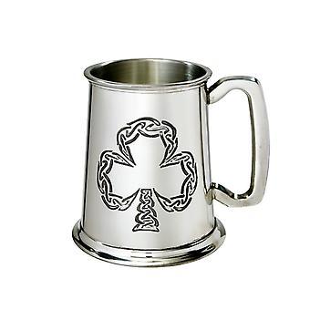 Ierse Shamrock reliëf Pewter Tankard - 1 pint
