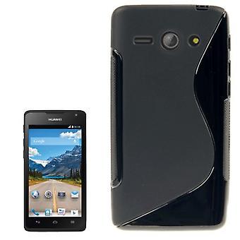 Cell phone dække silikone tilfældet (S-kurve) for mobile Huawei Ascend Y530 sort