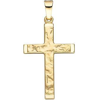 Wisior krzyż 585 złota złoto żółte młotkiem złota złoty wisiorek krzyż zawieszka krzyżyk