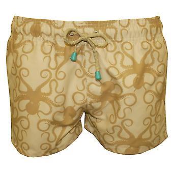 Oiler & Boiler Chevy Short Octopus Print Swim Shorts, Stone