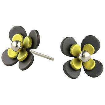 TI2 titanio nero indietro quattro petalo fiore orecchini - giallo limone