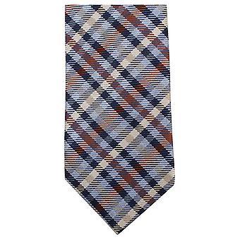 Gravatas de Knightsbridge Tartan tecidos Tie - marrom/azul/amarelo