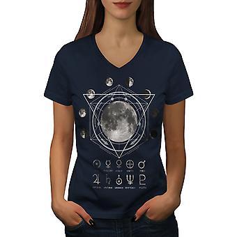 Camiseta de cuello de NavyV de mujeres de Astronomía de la luna | Wellcoda