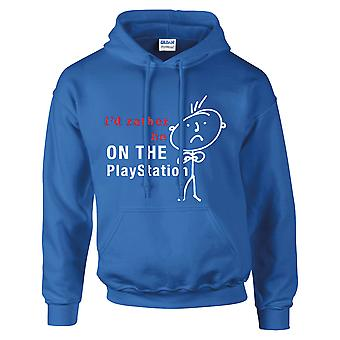 Men's I'd Rather Be On The Playstation Hoodie Royal Blue Hoody
