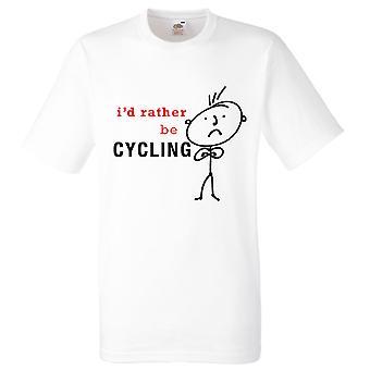 I pikemminkin pyöräily miesten valkoinen t-paita