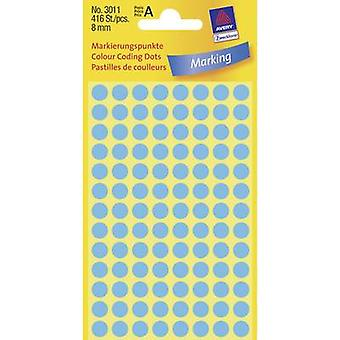 Avery-Zweckform 3011 plakkerige stippen Ø 8 mm blauw 416 PC (s) permanent papier