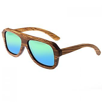 Earth Wood Siesta Polarized Sunglasses - Brown Zebra/Green