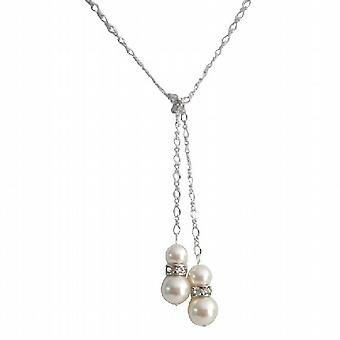 Lariat halskæde Swarovski elfenben perler med Diamante Spacer