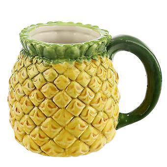 Tropical Ananas Tasse 3D  gelb-grün, Keramik, Fassungsvermögen 400 ml., in Geschenkkarton.