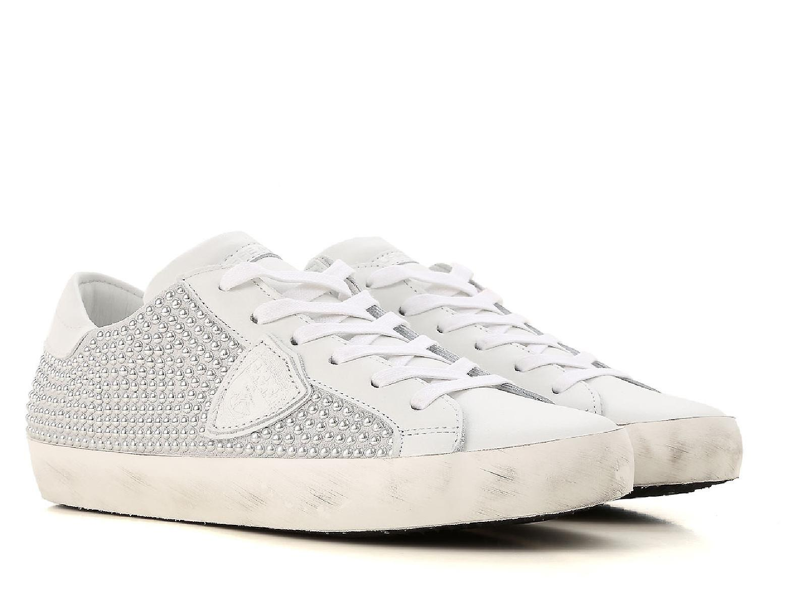 Philippe Model Women's sneakers in white leather with silver-plated pearls effect V1AHS