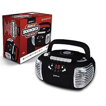 Groov-e Retro Boombox Portátil CD Cassette Radio Player - Black GVPS813BK (GVPS813BK)