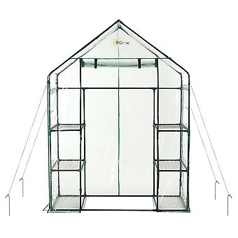 Draagbare grote wandeling in tuin kas - 3 Tier 6 Plank PVC Plastic Grow House