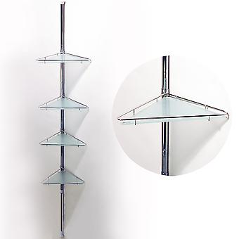 Polul-extinderea telescopice patru tier metal și sticlă Corner rafturi de perete-Silver