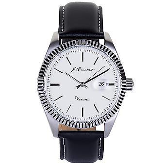 J. Brackett Verona Leather-Band Watch w/Date - Silver