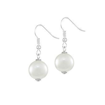 Eternal Collection herttua kunta valkoinen kuori Pearl Silver Tone Drop lävistetyt korva korut