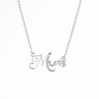 Evigheden sterling sølv kubisk zirconia sæt mum vedhæng og kæde