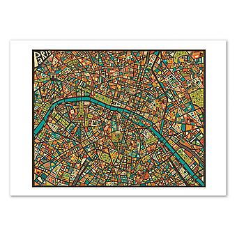 Art-Poster - Paris Street Mapa - Jazzberry Blue 50 x 70 cm