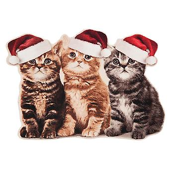 Doormat dirt trapping pad contour Christmas cats 45 x 75 cm