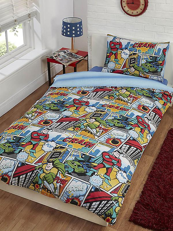 Comic Strip Single Duvet Cover and Pillowcase Set