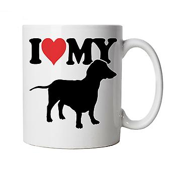 I Love My Dachshund Mug   Dog Gift Fur Baby Lover Owner Mans Best Friend   Crufts Dog Show Kennel Club Pedigree Breed Puppy   Dogs Cup Gift