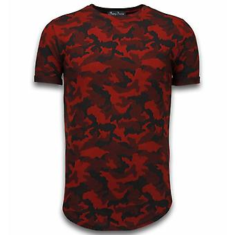 Casual Camouflage Pattern-Aired Slim Fit T-shirt-Red