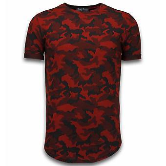 Rento naamiointi kuvio-aired Slim Fit T-paita-punainen