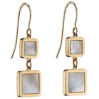 Elements Gold Double Cushion Mother Of Pearl Drop Earrings - Gold/Cream