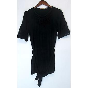 Motto Elbow Sleeve Boatneck Knit Top w/ Lace Dark Black A200641